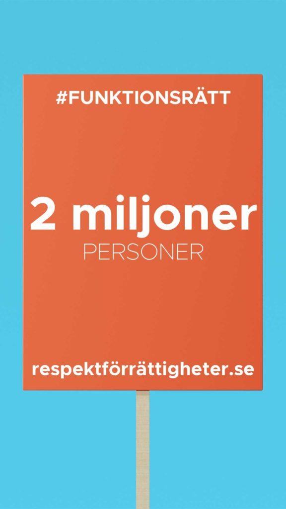 En bild på ett tecknat plakat med texten #funktionsrätt.. 2 miljoner personer. respektförrätttigheter.se,